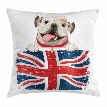 Union Jack Cushions (English Bulldog Throw Pillow Cushion Cover, Happy Pet Bulldog Holding a Union Jack Flag of the Great Britain, Decorative Square Accent Pillow Case, 16 X 16 Inches, Cream Navy Blue)