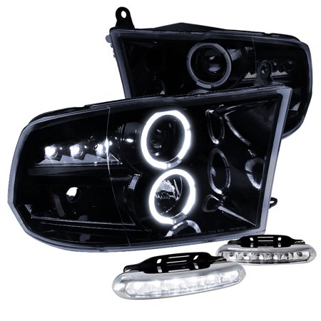 Spec-D Tuning For 2009-2019 Dodge Ram Glossy Black Halo Projector Headlights, LED Bumper Fog Lamps (Left+Right) 2009 2010 2011 2012 2013 2014 2015 2016 2017 2018