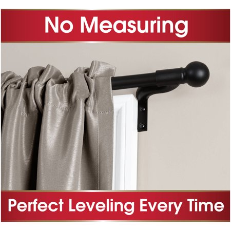 - Smart Rods Easy Install Cafe Window Curtain Rod, Ball Finial