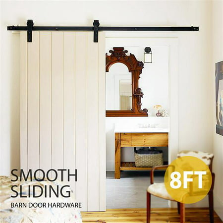 SmileMart 8Ft Sliding Barn Door Hardware Kit Set Track Antique Style Closet System Black Pottery Barn Daily System