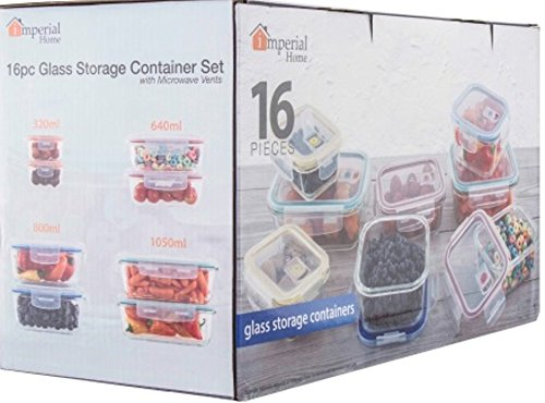 16-pc Glass Food Storage Containers Lock Tight Silicone Lids Microwave Vents by
