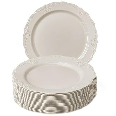 Disposable Premium Plastic Dinnerware Plate Set, Vintage - Cream, 10.25