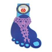 Size Medium Girls Summer Crochet Barefoot Sandal, Lilac
