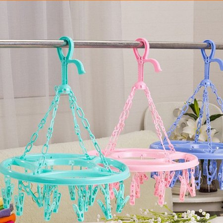The Noble Collection Hanging Dryer 18 Clips Pin Laundry Clothes Hanger Underwear Socks Foldable