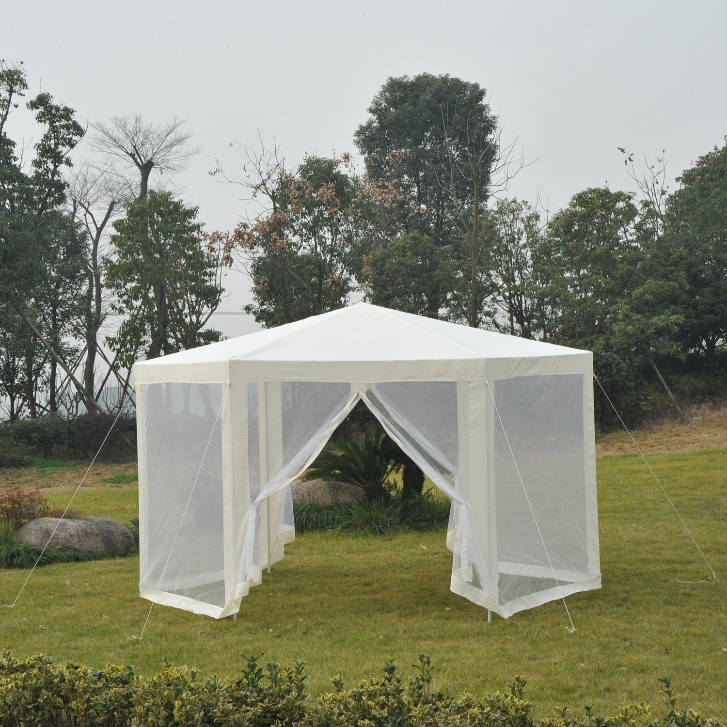 New MTN-G Patio Gazebo Netting Canopy Garden Party Tent Steel Outdoor-Beige