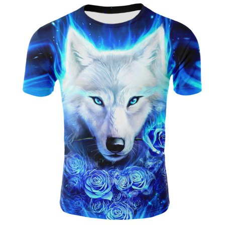 Wolf 3D Print Animal Cool Funny T-Shirt Men Short Sleeve Summer Tops Women T Shirt Male Fashion Tee