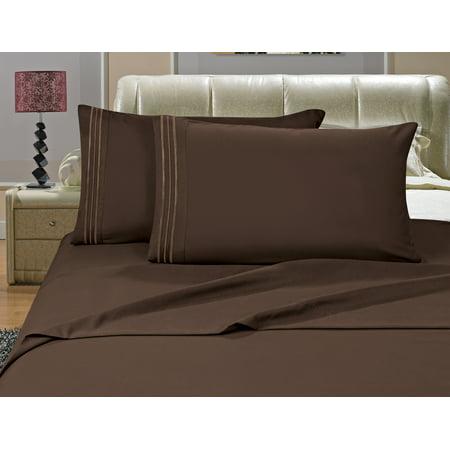 Elegant Comfort? 1500 Thread Count Egyptian Quality Microfiber Deep Pocket Bedroom Sheet Set, Queen Chocolate Brown (Brown Queen Sheets)