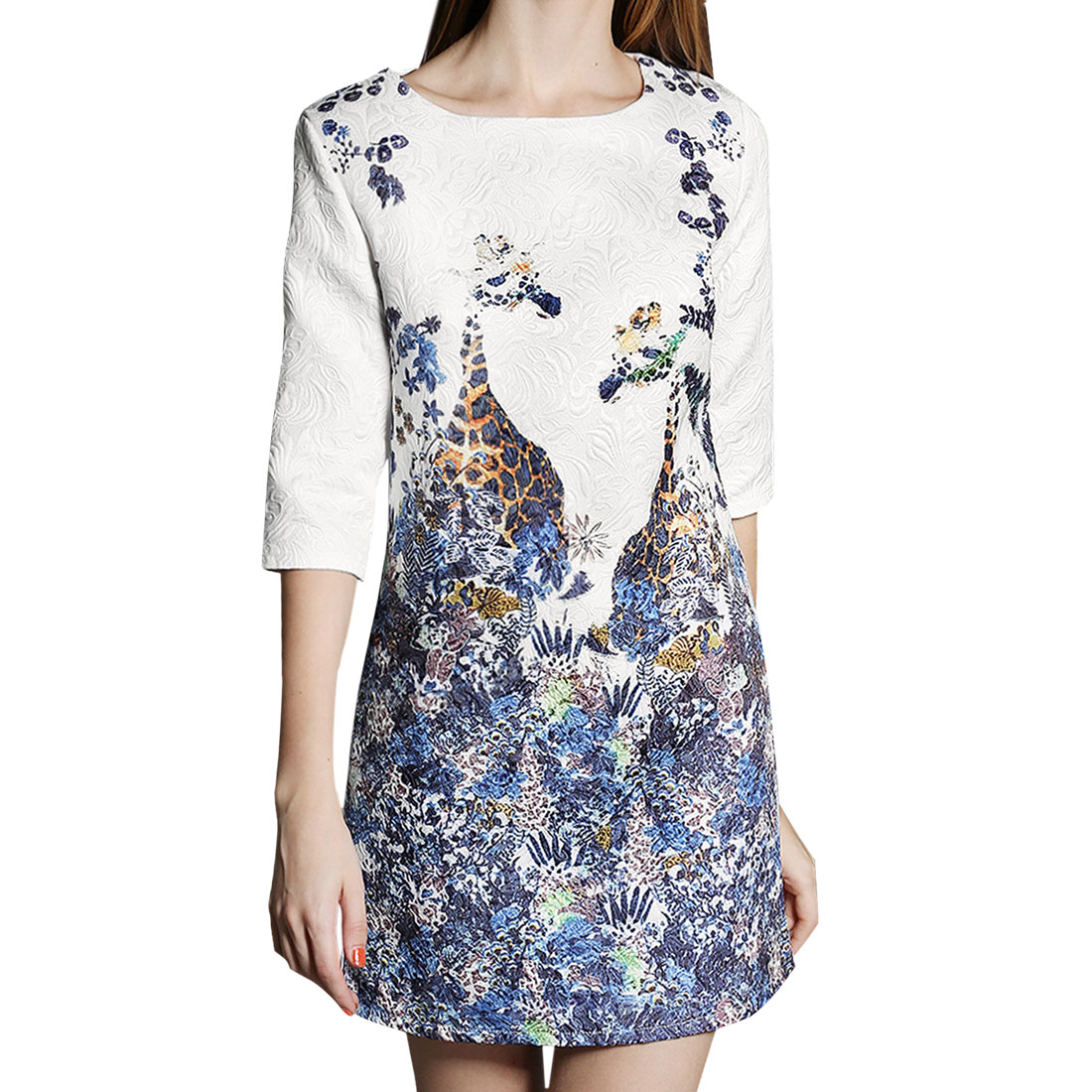 Women's 1/2 Sleeves Giraffe Pattern Flower Embossed Tunic Dress White (Size S / 4)
