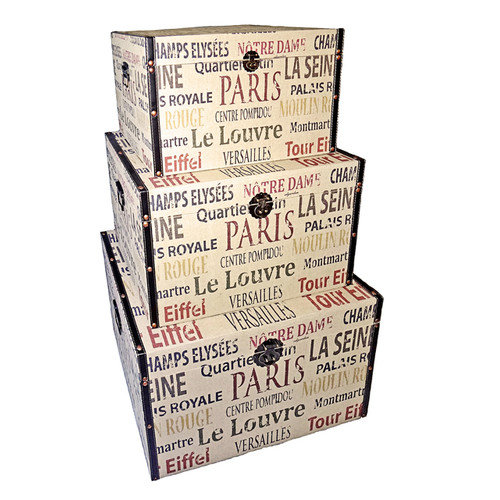Cheungs Trunk Parisian Typography (Set of 3)