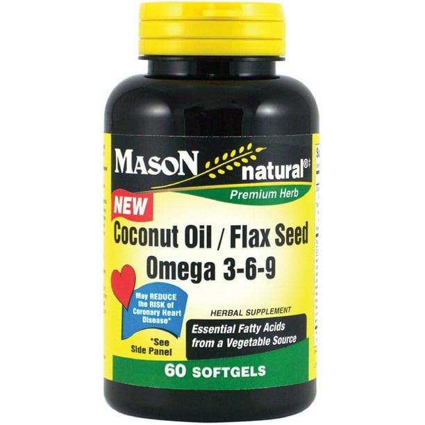 Mason Natural Coconut Oil Flax Seed Omega 3 6 9 Softgels 60 Ea