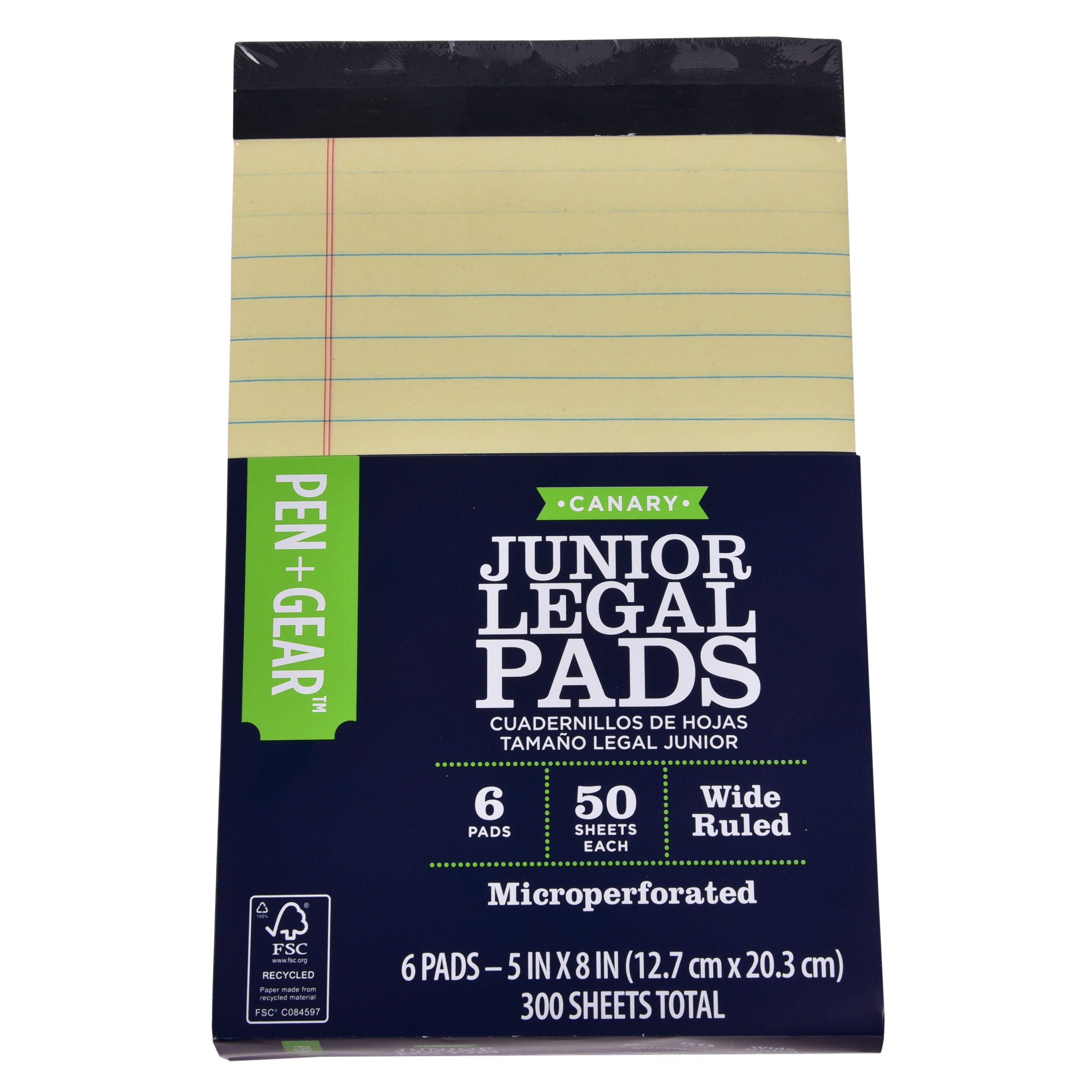 Pen+Gear Junior Legal Pad, Yellow, 5 in x 8 in, 50 Sheet, 6 Count