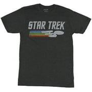 Star Trek Mens T-Shirt - Distressed Logo With Enterprise And Rainbow Swoop