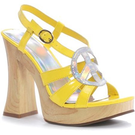 Ellie Shoes Hippie 60s Yellow Peace Sign 5