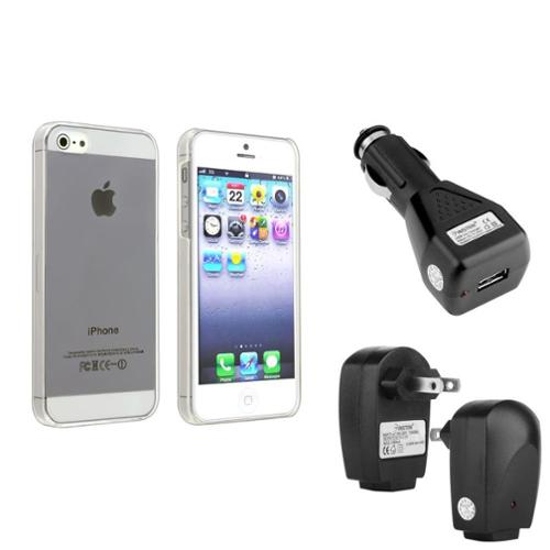 Insten Slim Clear Hard Skin Case+Black Travel+Car Charger For Apple iPhone 5S 5 5th 5G Gen