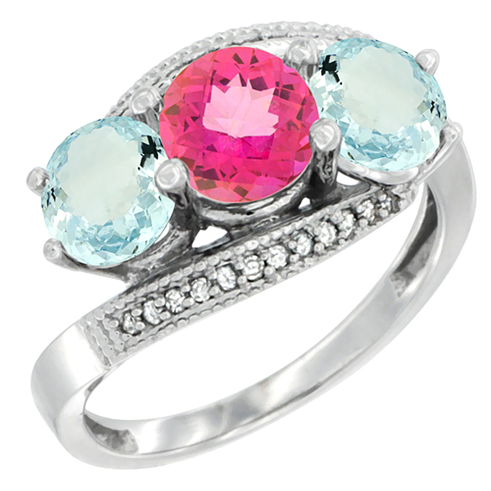 14K White Gold Natural Pink Topaz & Aquamarine Sides 3 stone Ring Round 6mm Diamond Accent, size 5 by Gabriella Gold