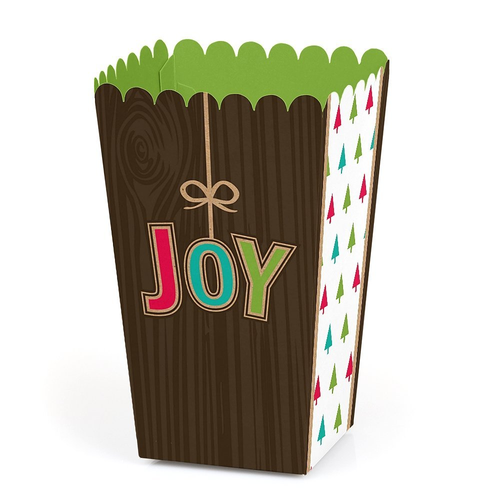 Rustic Joy - Holiday & Christmas Party Favor Popcorn Treat Boxes - Set of 12