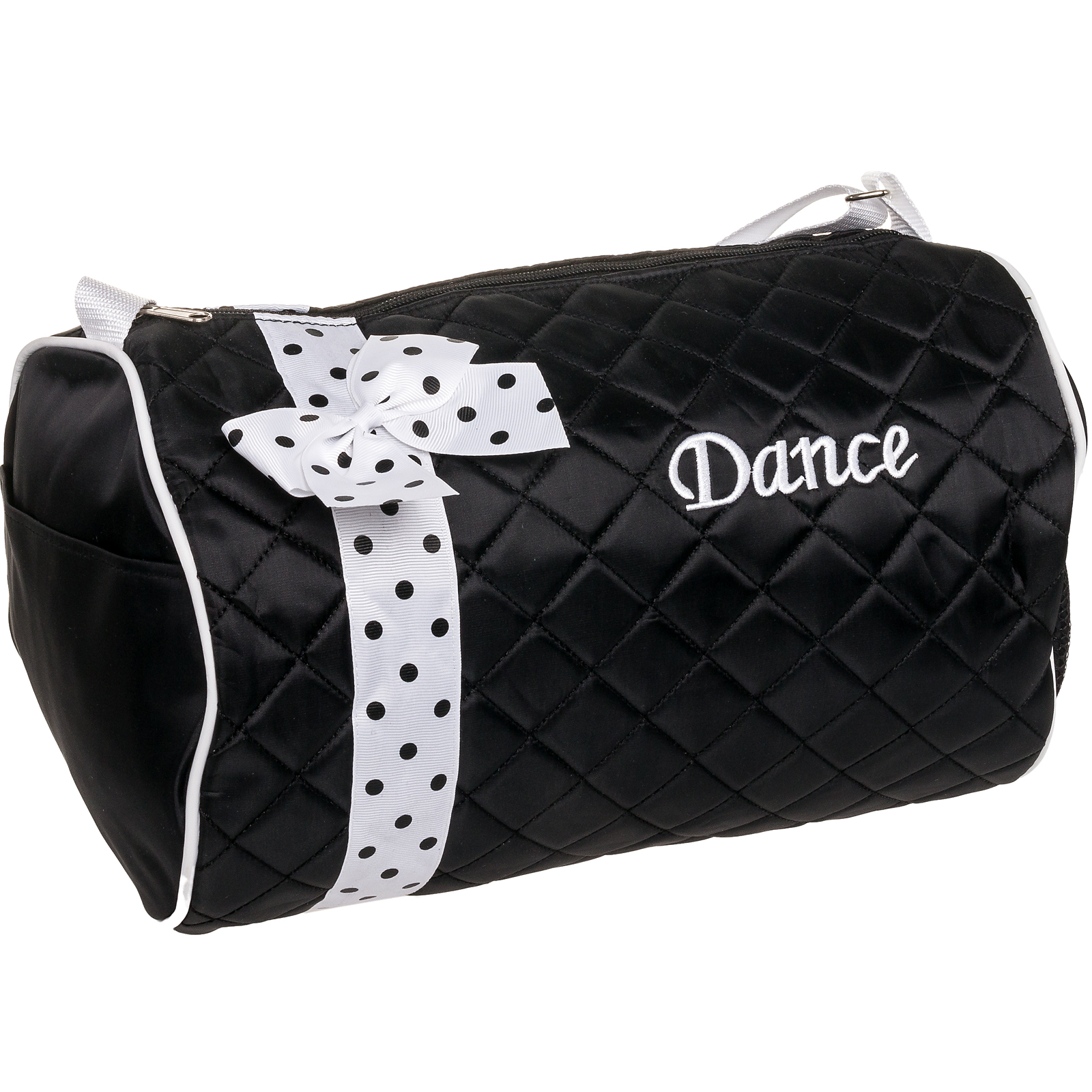 SILVER LILLY NEW Girl Black Dance Cheer Ballet Duffel Duffle Bag w/Polka Dot Bow