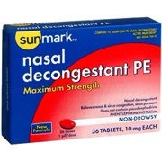Sunmark Nasal Decongestant PE Maximum Strength Tablets, 10 mg, 36 Count