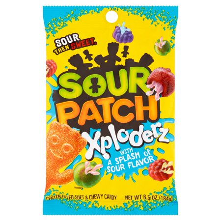 (4 Pack) Sour Patch, Soft & Chewy Xploderz Candy, 6.5 Oz