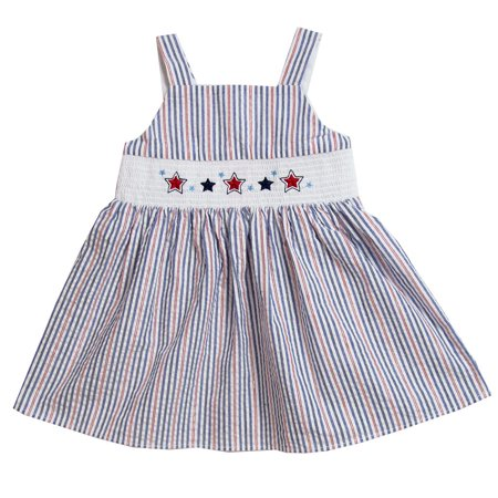 - Good Lad Toddler thru 4/6X Girls Red,White, and Blue Seersucker Smocked Sundress with July 4th Embroideries