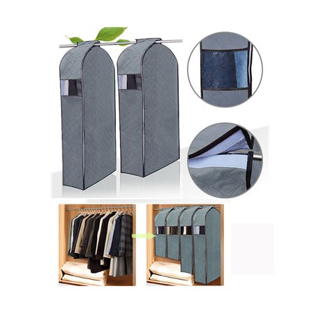 "iClover [2 Packs]Garment Cover for Clothes Storage Travel Transparent Storage Clothing Organizer Bag in Wardrobe Dust Resistant Protector Cover with Zipper,Large Size (44.3""x22.4""x7.7"") Specifications:- Material: Bamboo Charcoal- Size: 112.5*57*17.5 cm (44.3*22.4*7.7 in.) - Color: Light Grey - Weight: 6.2 oz"