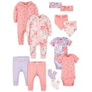 Modern Moments by Gerber Baby Girls Newborn Organic Shower Gift Set, 12-Piece