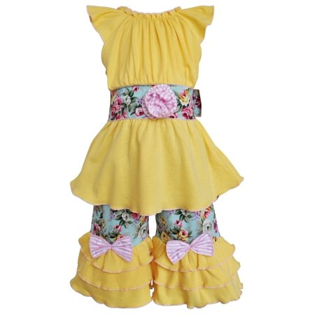 Ann Loren AnnLoren Girls Yellow Cotton Tunic & Spring Floral Capri Set Clothing - Girls Spring Clothing