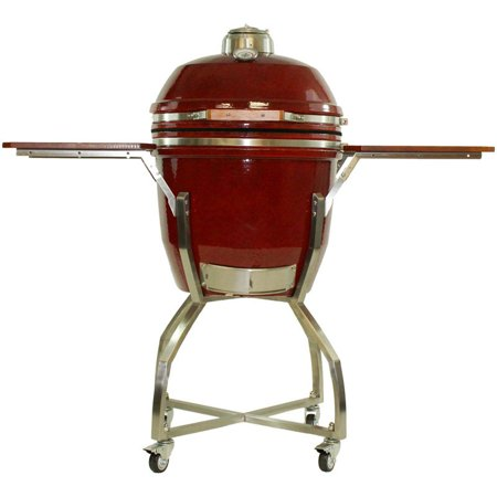 Hanover Ceramic Kamado Grill With Stainless Steel Cart And Protective Cover