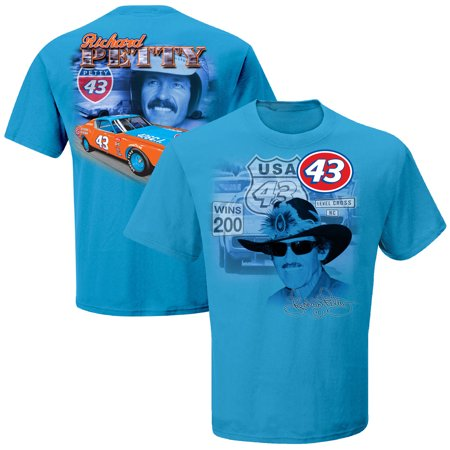 Richard Petty Checkered Flag Two-Spot T-Shirt - Light Blue