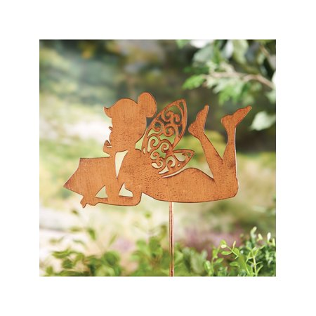 Art & Artifact Reading Fairy Garden Stake - Decorative Antiqued Iron Yard Sculpture (Fairy Decorative Sculpture)