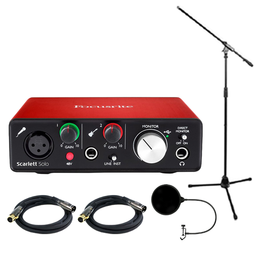 Focusrite Scarlett Solo USB Audio Interface (2nd Generation) Bundle with 2 XLR Cables, Microphone Stand and Wind Screen