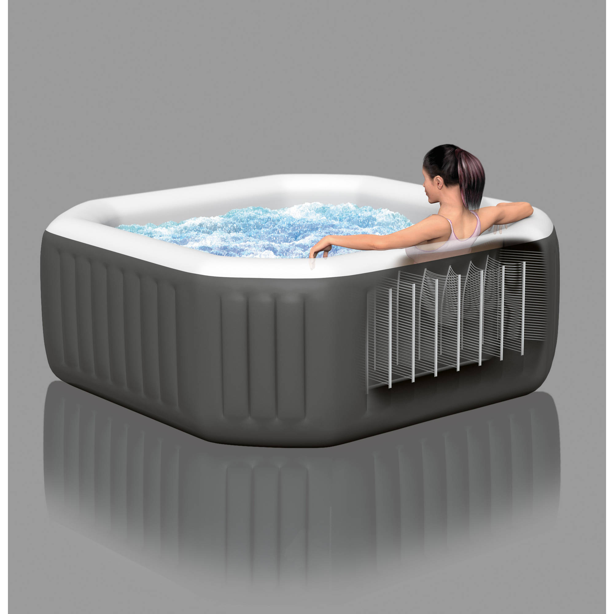 Intex 120 Bubble Jets 4 Person Octagonal PureSpa - Walmart.com