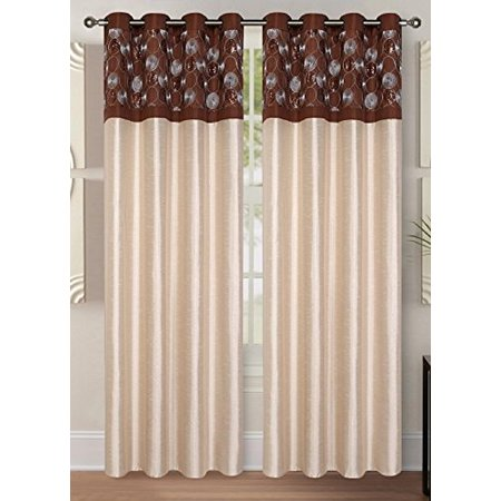 2 Piece Decorative Grommets Window Curatins Sherry Panel (Taupe) - Mens Taupe Stripe