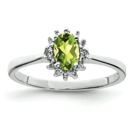 Sterling Silver Rhodium Peridot Diamond Ring Size 6 - image 2 de 2