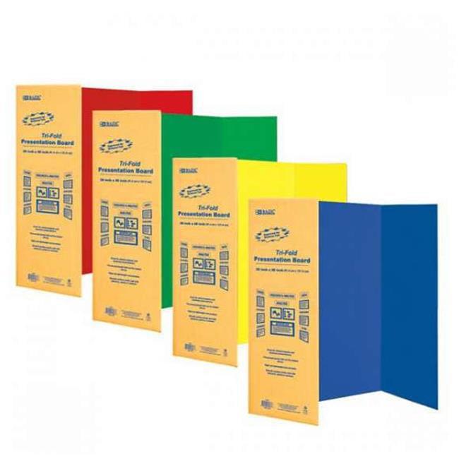 "Bazic 5035  36"" X 48"" Assorted Color Tri-Fold Corrugated Presentation Board   Pack of 24"