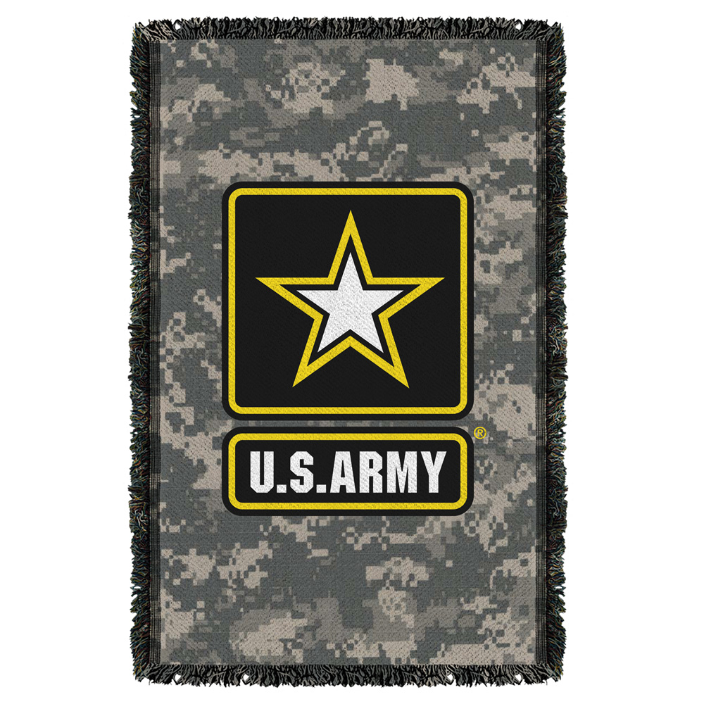 Army Patch Woven Throw White 48X80