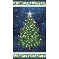 Product Image Clearance Sale~O Christmas Tree Panel 24'' x 44'' Panel Blue