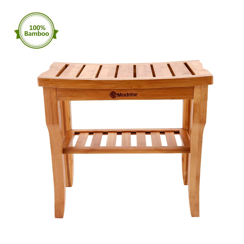 Bamboo Shower Seat Bench Bathroom Spa Bath Organizer Stool with Storage ShelfWSY by