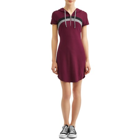 Juniors' Striped Zip Front Short Sleeve Hooded Knit Dress (Zip Up Front Dress)