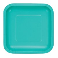 Club Pack of 180 Teal Lagoon Square Luncheon Plates 6.75""