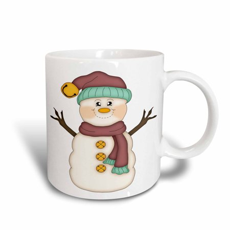 Ceramic Snowman - 3dRose Cute Country Snowman With Scarf and Snow Hat Illustration, Ceramic Mug, 11-ounce