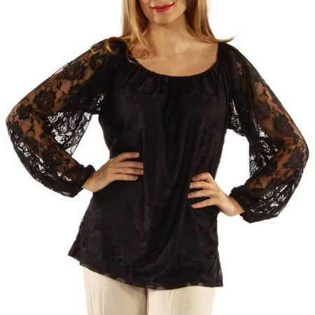 55fdb4a251ad50 24 7 Comfort Apparel - Women s She s So Pretty Black Lace Tunic Top -  Walmart.com