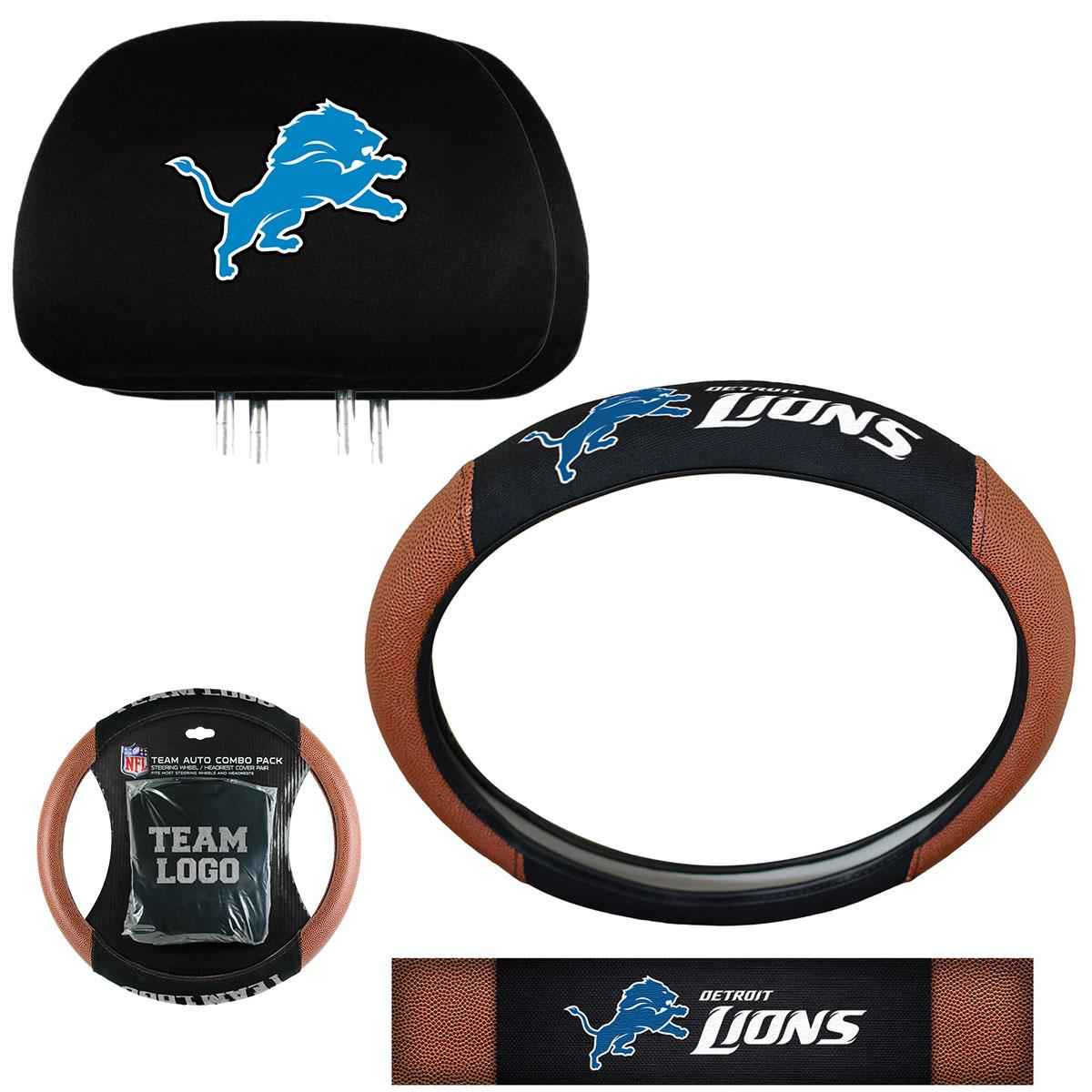 NFL Detroit Lions Steering Wheel Cover & Headrest Combo