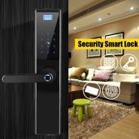Smart Code Satin Nickel Electronic Door Lock Biometric Fingerprint / Digital Code / Smart Card Touchscreen Keypad Keyless Deadbolt Smart Lock