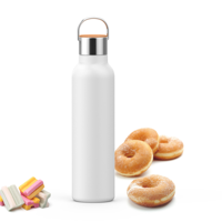 2 Pack Simple HH Double Walled Vacuum Insulated Stainless Steel | Leak Proof Sports Water Bottle | Standard Mouth with BPA Free Cap with Handle | 23oz | White