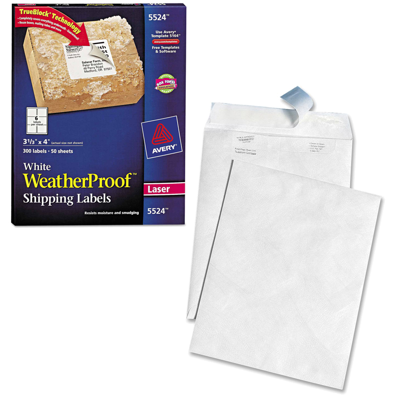 "Avery Weatherproof Laser Shipping Labels, 3-1/3"" x 4"", White, 300-Pack and Quality Park White Leather Tyvek Plain Envelopes Bundle"