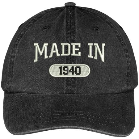 1940 Baseball (Trendy Apparel Shop 78th Birthday - Made In 1940 Embroidered Low Profile Washed Cotton Baseball Cap )