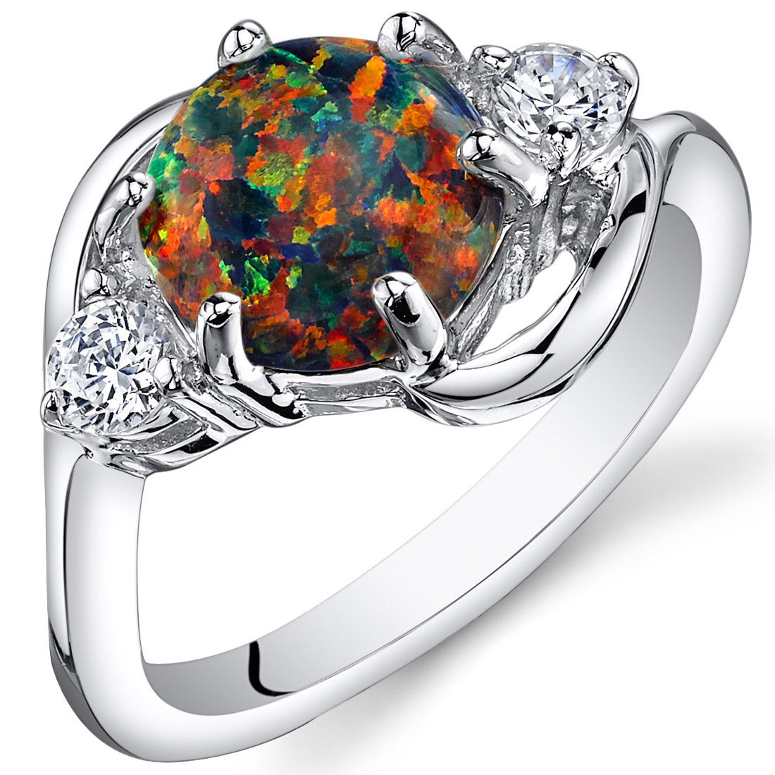 Peora 1.75 3 Stone Black Created Opal Ring in Rhodium-Plated Sterling Silver