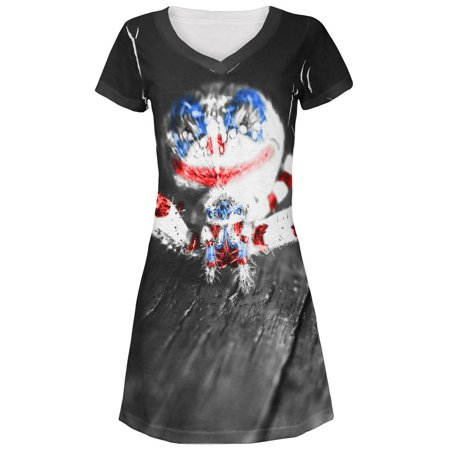 Patriotic Killer Clown Spider Of Halloween All Over Juniors Beach Cover-Up Dress - All Halloween Killers