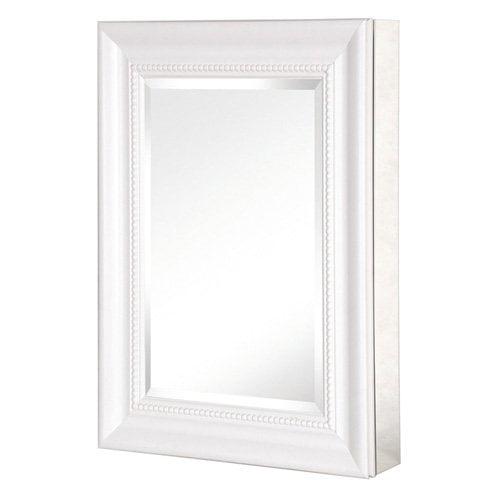 Pegasus Deco 15W x 26H in. White Framed Medicine Cabinet SP4597